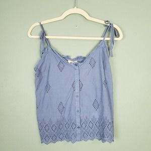 Listicle Blue Eyelet Button Down Shoulder Tie Tank